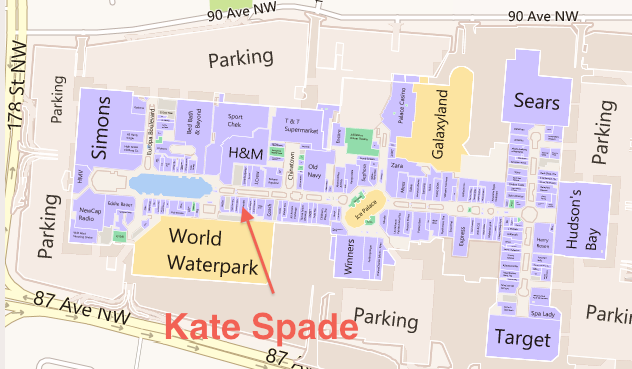 West Edmonton Mall Kate Spade Floor Plan Retail Insider Png