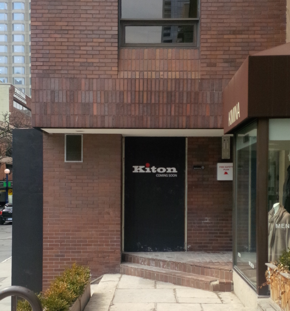 Signage and hoarding for new Toronto Kiton store. Photo by  ACT7 ,  Urban Toronto , taken from in front of 112 Yorkville Avenue.
