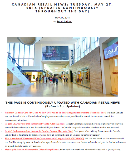 (Sample: Retail Insider daily news summary)