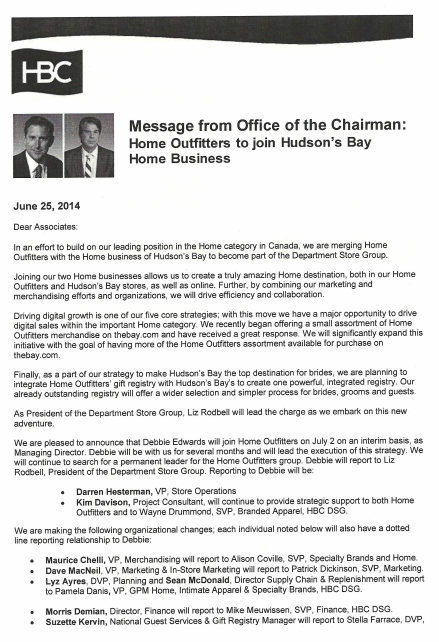 First page of the memo from HBC's Office of the Chairman.