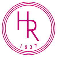 Holt Renfrew's logo features the colour magenta & a circle around the 'HR' as well as the year that the company was founded.