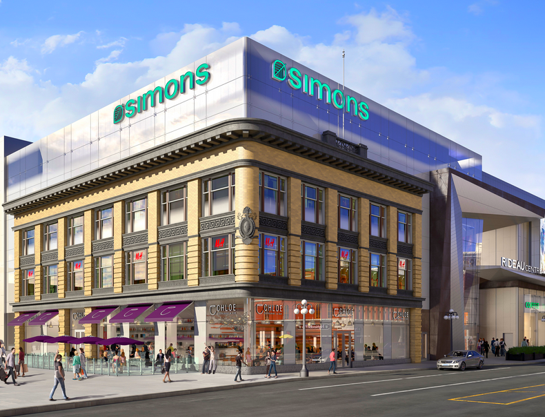 La Maison Simons joins Rideau Centre in August of 2016. Rendering: Rideau Centre