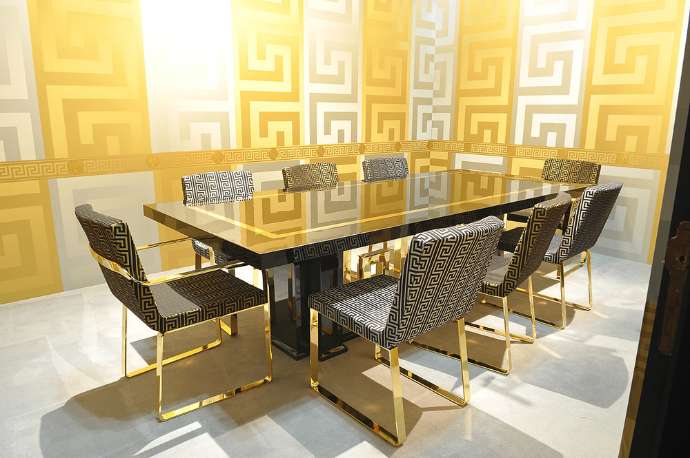 Versace Home dining set and wallpaper  Photo  decoration0 com. World s 1st Versace Home Flagship to Open in Vancouver s Gastown