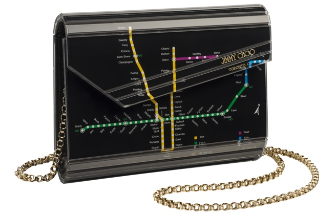 Limited edition Jimmy Choo handbag, featuring TTC subway map. $1,095. Photo: Yorkdale Shopping Centre.