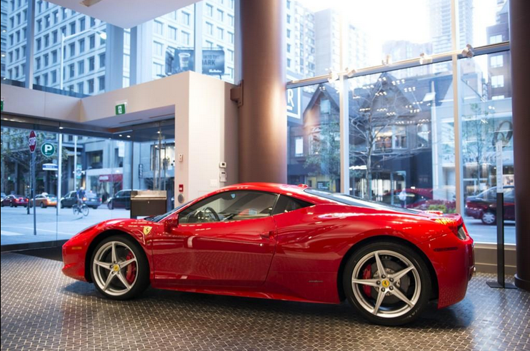 Ferrari in the foyer. Photo: Holt Renfrew