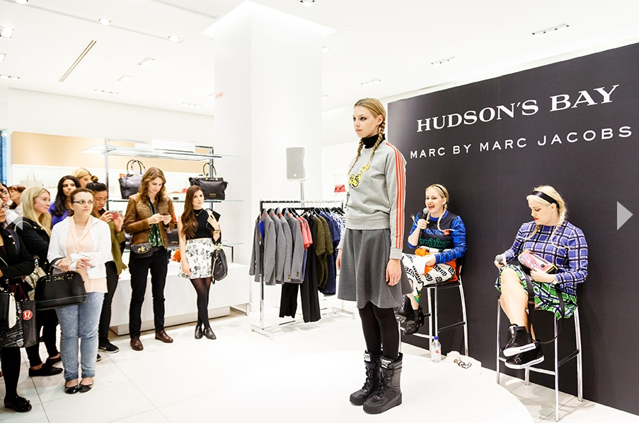 The popular designer/blogger Beckerman Sisters launched the Marc by Marc Jacobs' line at Hudson's Bay on September 16, 2014. Photo: Hudson's Bay.