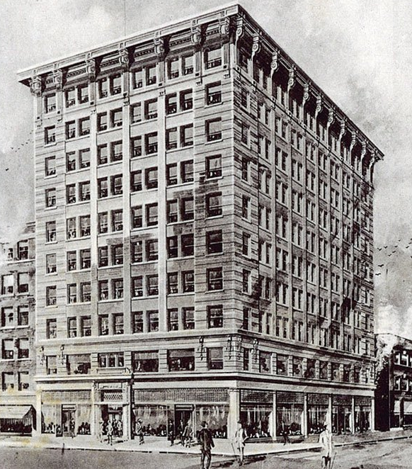 Architect's rendering of Mackie Block constructed between 1912-18 and now known as the Lancaster Building. Photo: http://archiseek.com