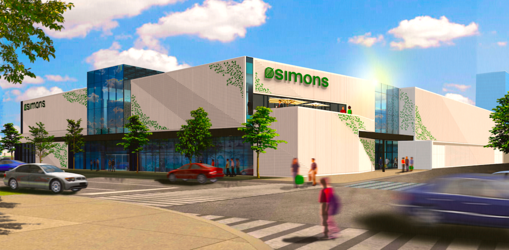Updated rendering of Simons' Square One Mississauga store, via LEMAYMICHAUD Architecture Design.