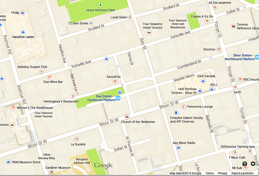 Toronto's 'Mink Mile' and adjacent Yorkville area, via Google Maps.
