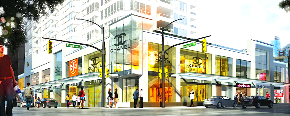 Rendering of 'The Carlyle' in Vancouver, via landlord Concord Pacific. NOTE: Chanel, David Yurman, Vapiano and Diesel are  not  confirmed as tenants.