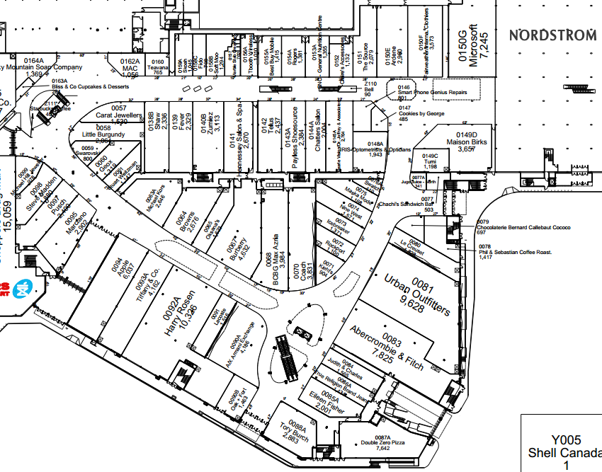 Chinook Centre, Calgary.  Click image  for entire mall lease plan, via Cadillac Fairview.