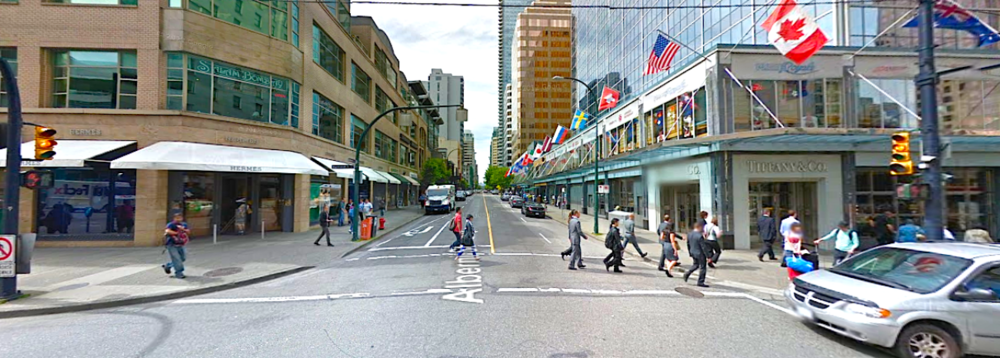 Vancouver's Burrard/Alberni intersection, looking West. Photo: Google Street View screen capture.