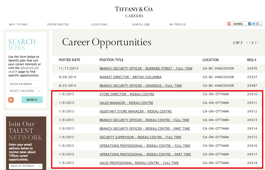 Click image for Tiffany & Co. Ottawa job postings.