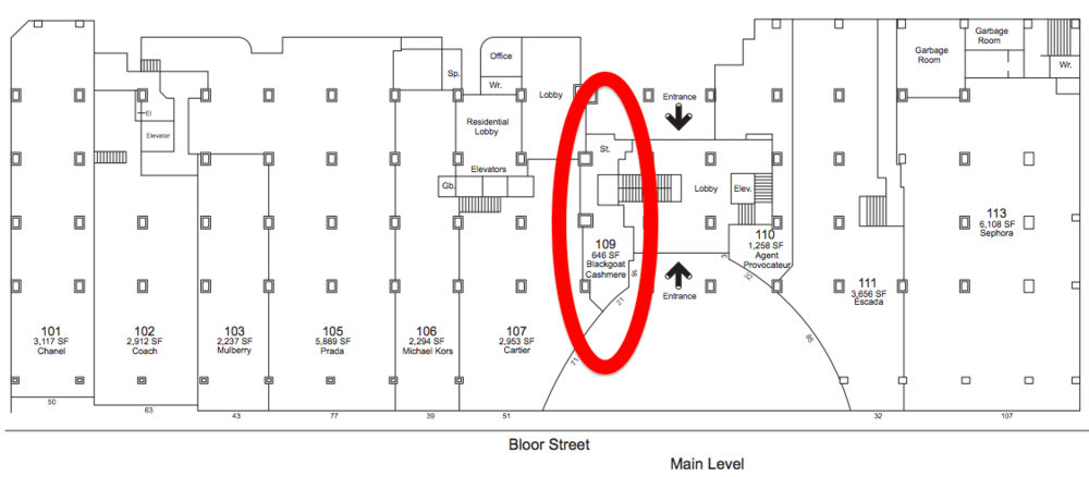 131 Bloor Street West. Click image for full lease plan, via landlord Morguard.