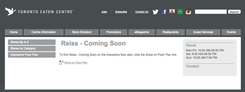 Screen shot - Toronto Eaton Centre website.