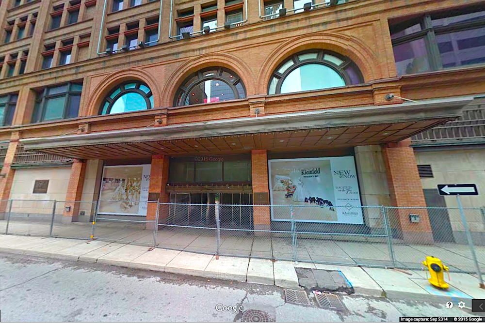 Hudson's Bay's eastward Richmond Street entrance will become a valet entrance for Saks Fifth Avenue. Photo: Google Street View screen capture.