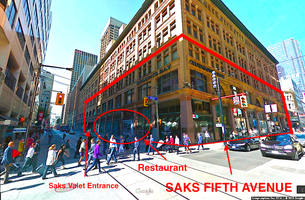 Corner of Yonge Street and Richmond Street, looking northwest. Photo: Google Street View screen capture.