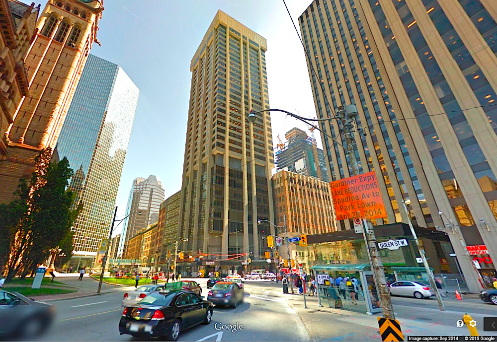 Some office space on the lower floors of the adjacent Simpson Tower will become retail space for Hudson's Bay, according to a store planner. Photo: Google Street View screen capture.