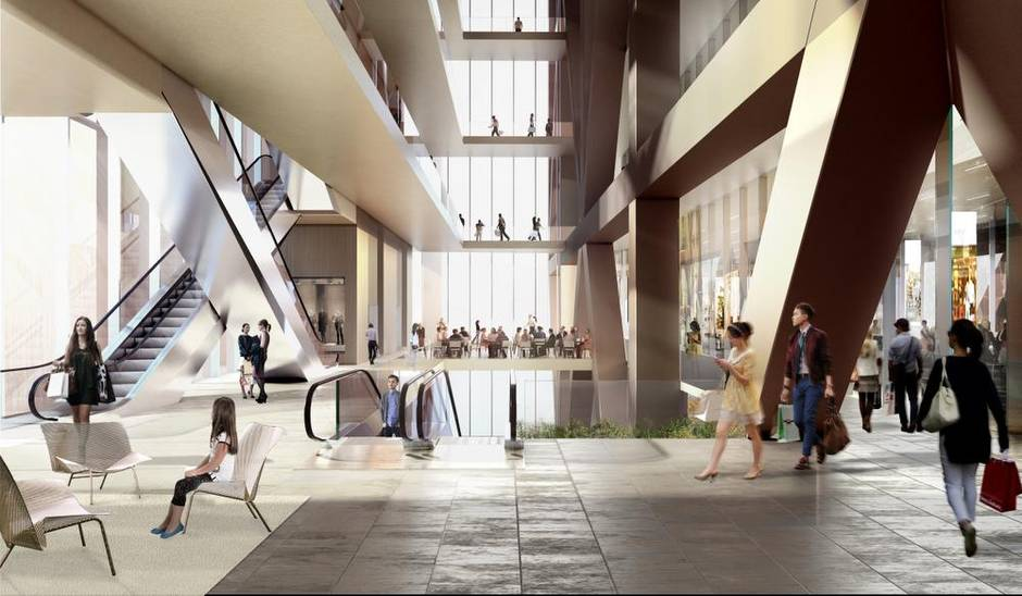 3rd floor atrium. Rendering: Mizrahi Developments