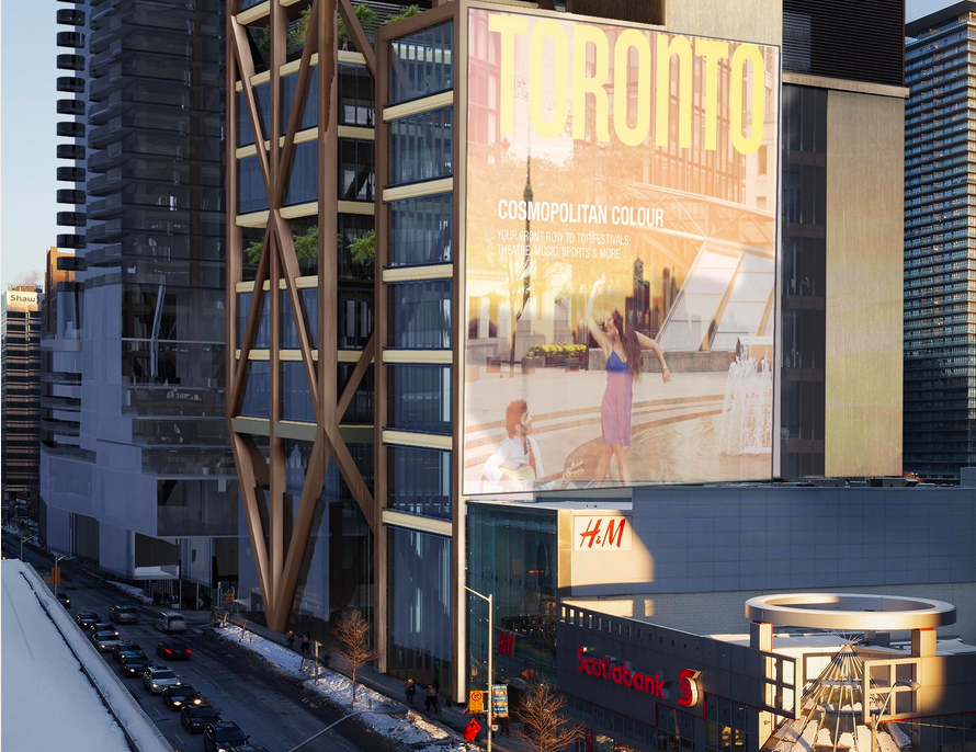 The retail podium looking east along Bloor Street, as seen from the rooftop of Holt Renfrew. Rendering: Mizrahi Developments