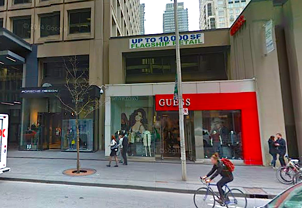 Porsche Design's Canadian flagship space at 77 Bloor St. W., now closed, is available for lease along with the adjacent Guess space. Photo: Google Street View screen capture.