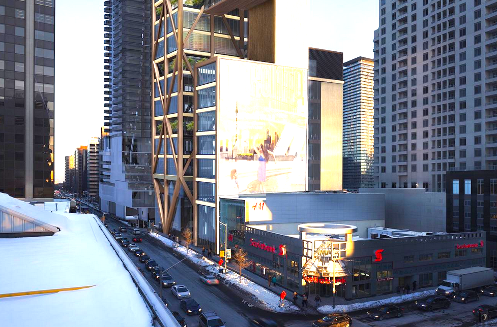 If The One expands all the way to the corner space occupied by Scotiabank in this rendering, it would add significant value to the proposed project. Rendering: Mizrahi Developments