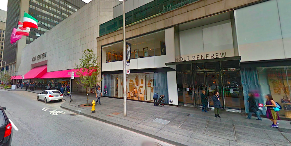 Sources say that Prada may get a ground-level concession with its own street front entrance on the east side of Holt Renfrew's Bloor Street flagship. Chanel could anchor the western portion of the store in a similar fashion, according to sources. Photo: Google Street View screen capture.