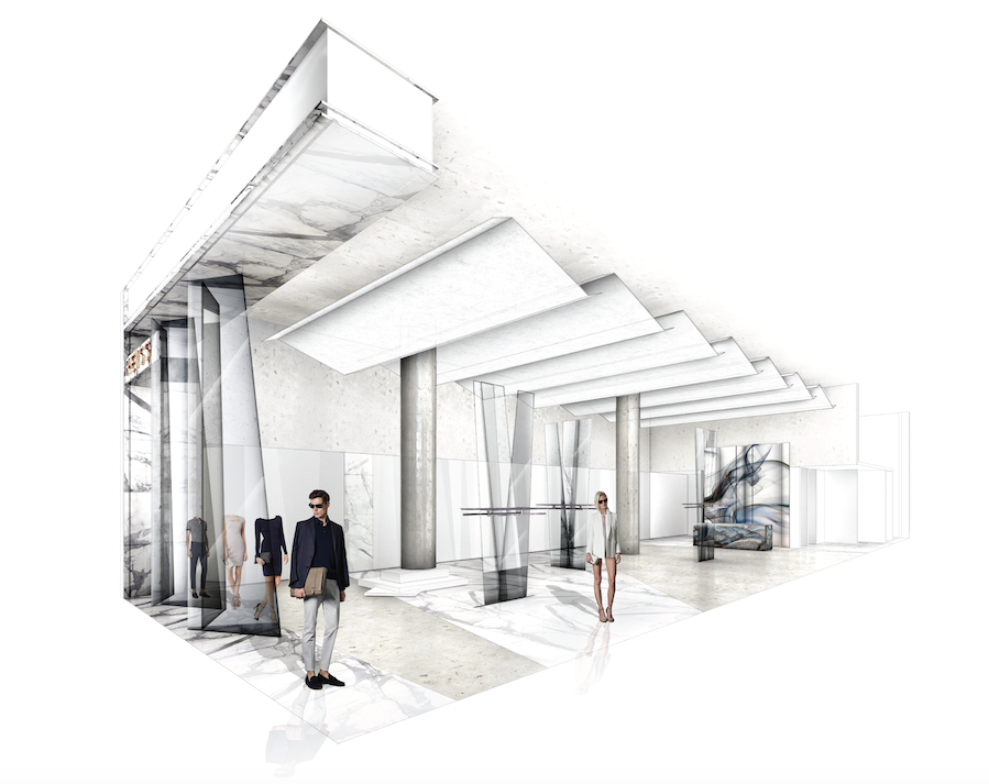 Reiss Creative Director James Spreckley and interior design agencey, d-raw were behind the Toronto store design concept. Rendering: Reiss
