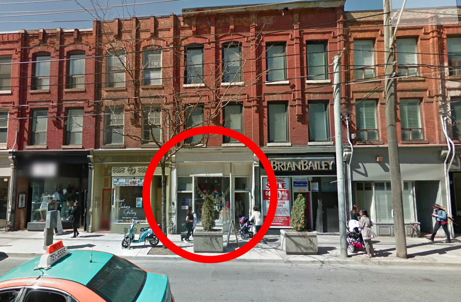 Toronto store pre-renovation. Photo: Google Street View screen capture