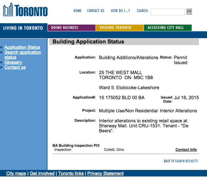 Click image for City of Toronto application