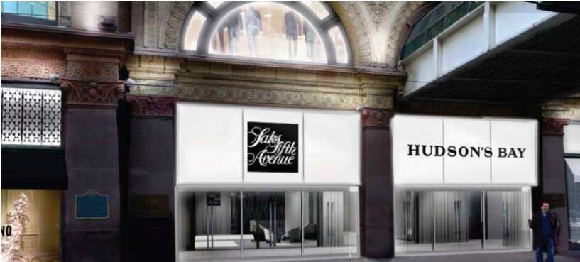 Saks/Bay ground-floor Queen Street entrance. Rendering: Hudson's Bay Company