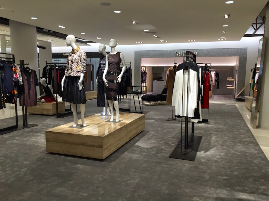 Designer 'Collectors' Department on 2 at Nordstrom Vancouver. Valentino and Saint Laurent shops visible. Photo: William Connor
