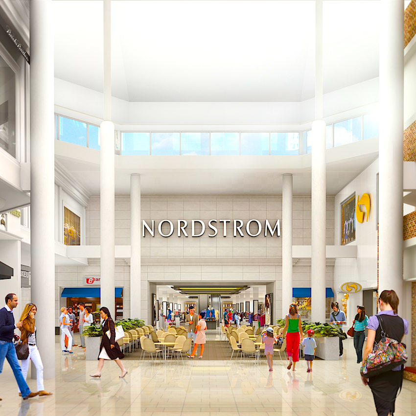 The mall's Nordstrom Wing will feature soaring ceilings and several two-level retailers. Rendering: Nordstrom