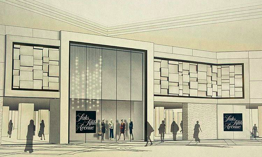 Saks Sherway mall entrance. Rendering courtesy of Saks Fifth Avenue