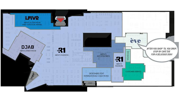 Mezzanine level simons park royal featuring designer men for Retail store floor plan maker