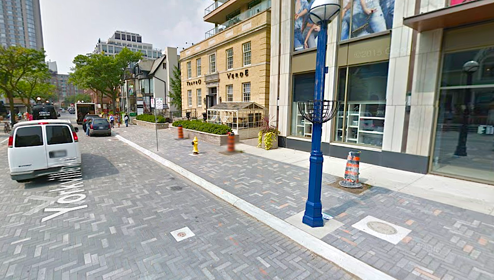 Yorkville Avenue's new paving stones. Photo: Google Street View