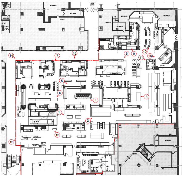 Floor plan of Saks food hall by Pusateri's, Toronto Eaton Centre Queen Street