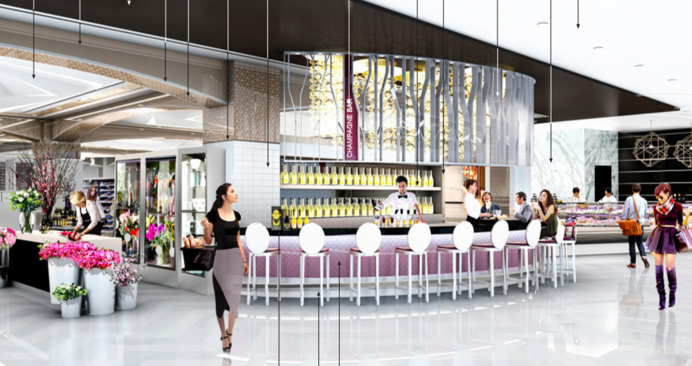 Sherway Champaign bar, lower level. Rendering: GH+A