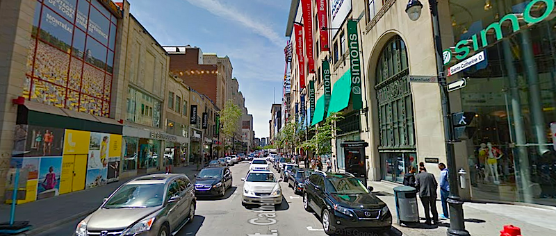 Saint Catherine Street West, Montreal. Photo: Google Street View screen capture