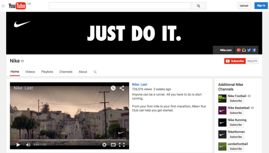 Screenshot of Nike's official YouTube channel: Nike features several different channels on YouTube, divided by sport (e.g., Nike Basketball, Nike Football, Nike Running) and special interest (e.g., Nike Training, Nike Women), with each channel tailoring video content to its unique audience.