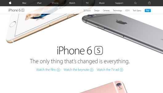 "Screenshot of   apple.com   – Apple uses video throughout its website to promote products and educate customers. In the image above, visitors can select to ""watch the film,"" ""watch the keynote,"" or ""watch the TV ad"" for the iPhone6S."