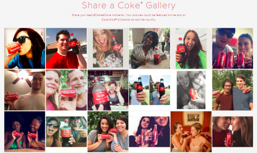"Screenshot of Coca-Cola's ""Share Gallery"" at   shareacoke.com  : This is essentially the ""home"" for the ongoing campaign which has seen countless images of people ""share-a-coke"" online."
