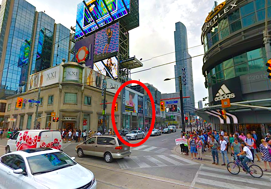 306 Yonge Street, circled in red. Photo: Google Street View screen capture.