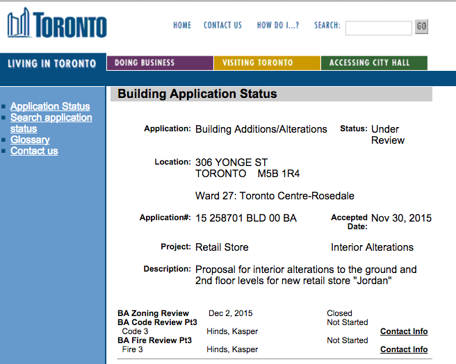 Click image above to access City of Toronto application