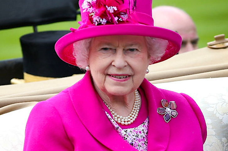 Her Majesty Queen Elizabeth II wears a commissioned Hillberg & Berk broach. A similar version  can be purchased  on the retailer's website.