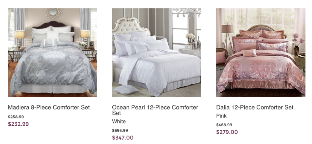 Bedding from Maple Harbour's website (screen capture)