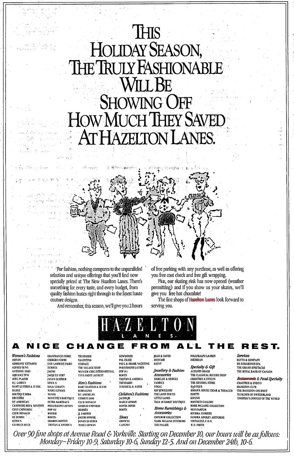 1990 Hazelton Lanes ad via Skeezix, of Urban Toronto.