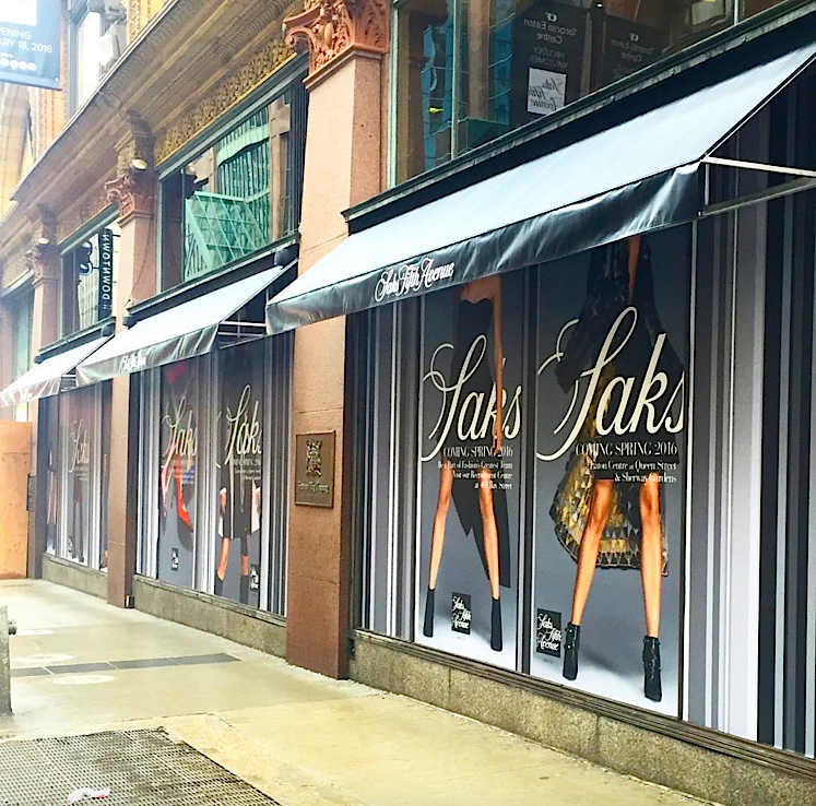 Awnings installed on the new Queen Street store. Photo: Saks via Instagram
