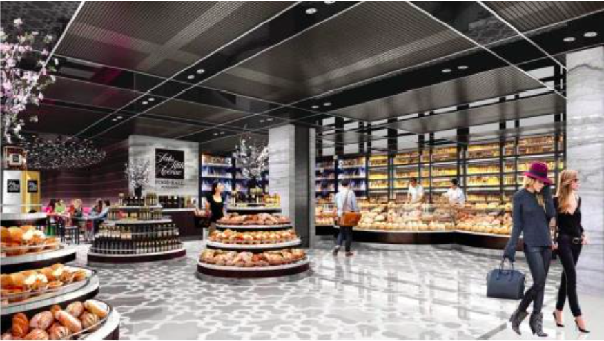 Queen Street food hall. Rendering, Hudson's Bay Company