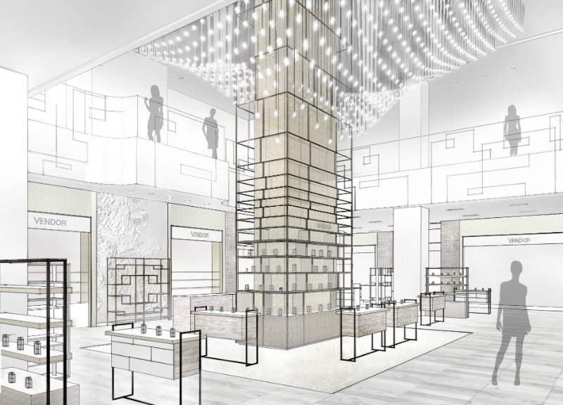 Rendering: Queen Street cosmetics hall, via Hudson's Bay Company on LinkedIn